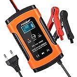 opamoo Batterie Ladegerät Auto, 5A 12V Vollautomatisches Batterieladegerät Auto...