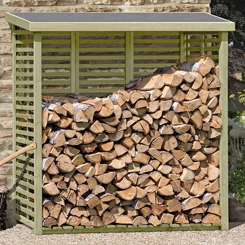 Kaminholzregal Kaminholzunterstand innen und außen mit Rückwand Holz oder Metall
