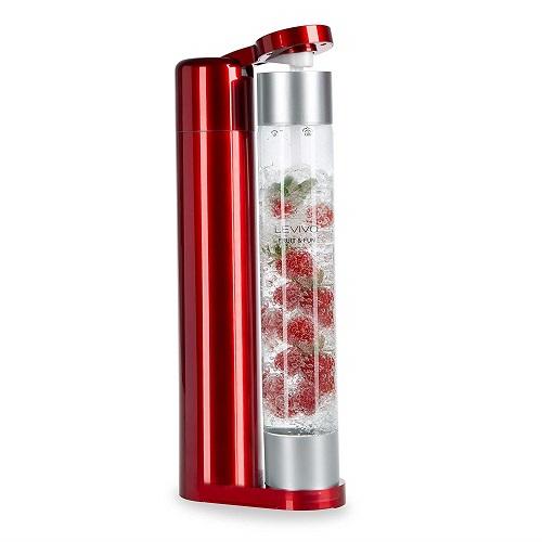Levivo Wassersprudler Glas Fruit & Fun slim Glasflasche